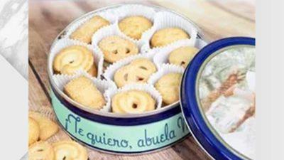 Caixa de galetes de mantega amb tapa i lateral personalitzable