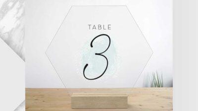 numeracio de taula metacrilat en forma hexagonal