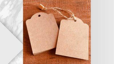 Etiquetes personalitzables kraft contornejada simple