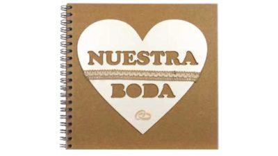 """Llibre de firmes kraft portada cor frase """"Nuestra Boda"""""""