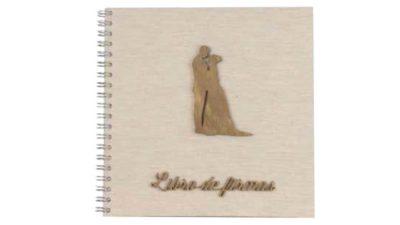 Llibre de firmes portada amb nuvis de fusta