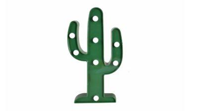 Lampara en forma de cactus verd i bombetes a l'interior