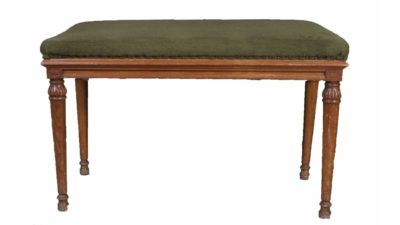 banc de fusta vintage i tapissat verd fosc