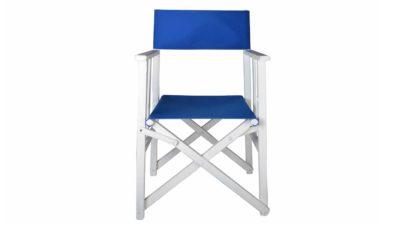 cadira de cinema de fusta blanca amb tela blava