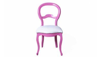 cadira rosa i blanca de fusta tapissada