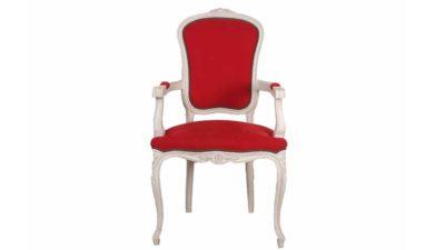 cadira de fusta blanca i tapissat vermella