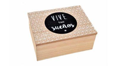 """caixa de fusta natural amb la frase """"vive tus sueños"""""""