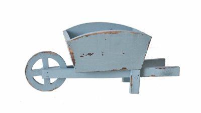 carrito blau de fusta per jardí