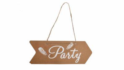 """cartell de cartró en forma de fletxa """"Party"""""""