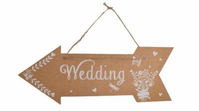 "cartell de catró en forma de fletxa ""wedding"""