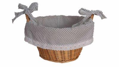cistell de canya amb nances i tela interior blanca amb topos