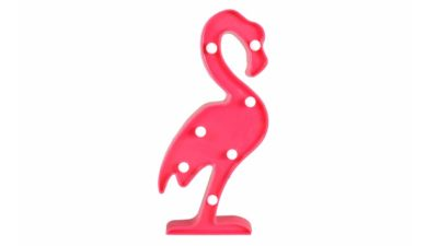 Lampara en forma de flamenc rosa amb bombetes a l'interior