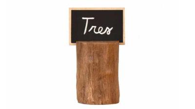 taco de fusta ample am pissarra per numeració de taula
