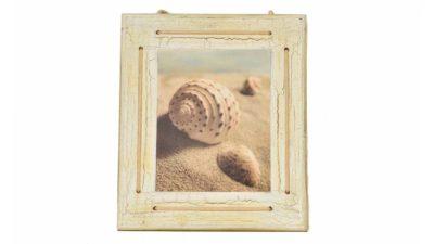 marc de fusta amb imatge de cargol a la platja