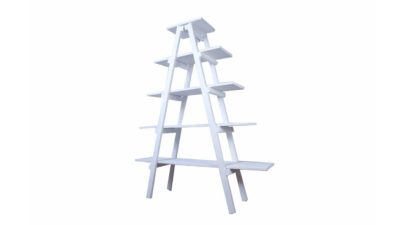 prestatge piramidal blanc de fusta