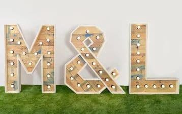 pack de 3 lletres lluminoses de fusta
