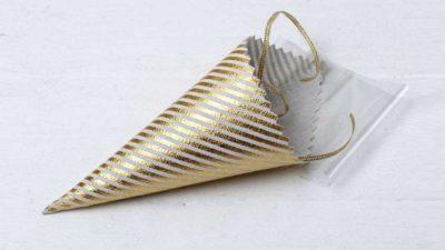 cono d'arròs de ratlles daurades amb bossa i cinta