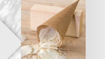 cono d'arròs de yute amb cinta per penjar