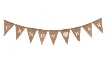 ramalaire wedding planner detalls de casament material de lloguer banderola de saca amb lletres candy bar