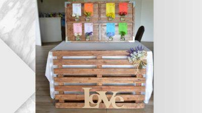 ramalaire wedding planner decoracio de casament seatting plan taulo de fusta amb palet